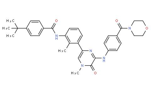 4-(tert-butyl)-N-(2-methyl-3-(4-methyl-6-((4-(morpholine-4-carbonyl)phenyl)amino)-5-oxo-4,5-dihydropyrazin-2-yl)phenyl)benzamide