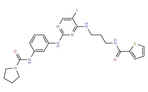 N-[3-[[5-碘-4-[[3-[(2-噻吩基羰基)氨基]丙基]氨基]-2-嘧啶基]氨基]苯基]-1-吡咯烷甲酰胺