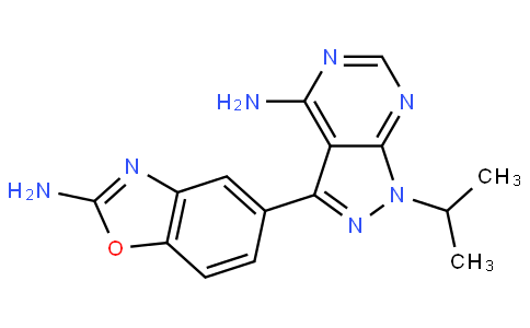 3-(2-氨基-5-苯并恶唑基)-1-(1-甲基乙基)-1H-吡唑并[3,4-D]嘧啶-4-胺