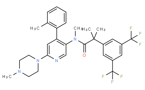2-(3,5-bis(trifluoromethyl)phenyl)-N,2-dimethyl-N-(6-(4-methylpiperazin-1-yl)-4-(o-tolyl)pyridin-3-yl)propanamide
