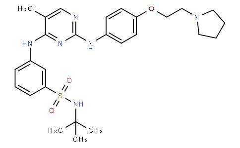 N-(tert-butyl)-3-((5-methyl-2-((4-(2-(pyrrolidin-1-yl)ethoxy)phenyl)amino)pyrimidin-4-yl)amino)benzenesulfonamide