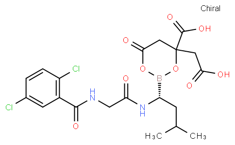 4-(carboxymethyl)-2-((R)-1-(2-(2,5-dichlorobenzamido)acetamido)-3-methylbutyl)-6-oxo-1,3,2-dioxaborinane-4-carboxylic acid