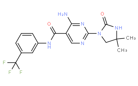4-amino-2-(4,4-dimethyl-2-oxoimidazolidin-1-yl)-N-(3-(trifluoromethyl)phenyl)pyrimidine-5-carboxamide