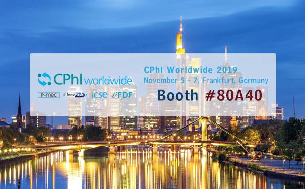 CPhI Wordwide 2019 in Frankfurt, Germany,on Nov 5-7, Booth #80A40