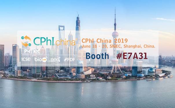 2019 CPhI China in Shanghai ,on June 18 - 20.Booth #E7A31